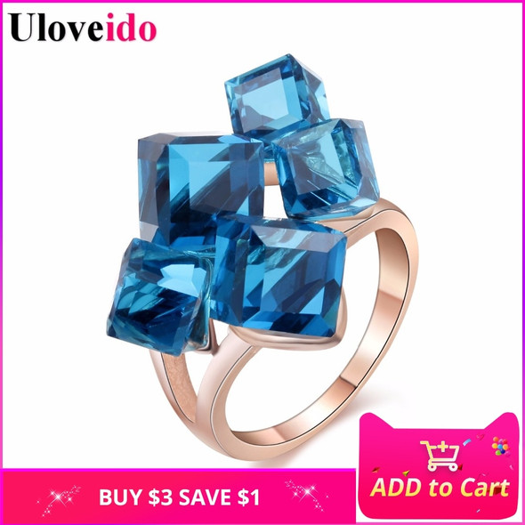 Uloveido Sale Gifts for New Year Rose Gold Color Jewelry Womans Crystal Square Stone Punk Rings for Women Anillos 2017 GR123