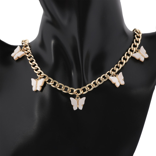 5 Shell Butterfly Pendant Necklace for Women Gold Plated Brass Chain Necklace Fashion Jewelry-White