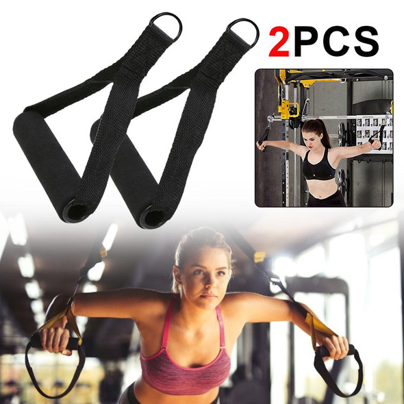 2PCS Nylon Tricep Rope Cable Handle Cable Crossover Gym Machine Handle Extra Attachment Resistance Fitness Exercise Accessories