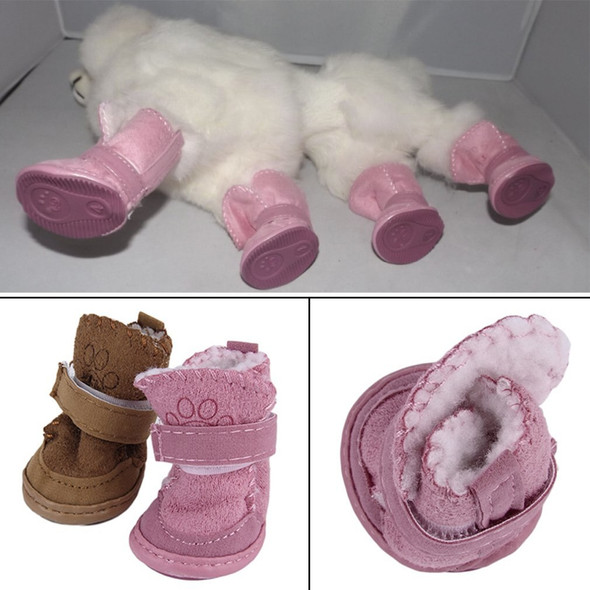 2 Colors 2016 new fashion pet dog pet shoes snow boots child Teddy Cotton Flax small dog shoes Snow Boots Drop Shipping