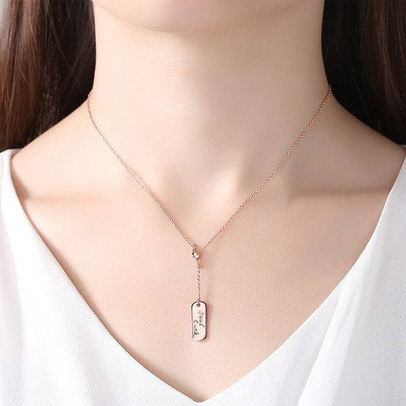 MetJakt S925 Sterling Silver Nameplate Lucky Rose Gold Tag Letter Necklace for Ladies