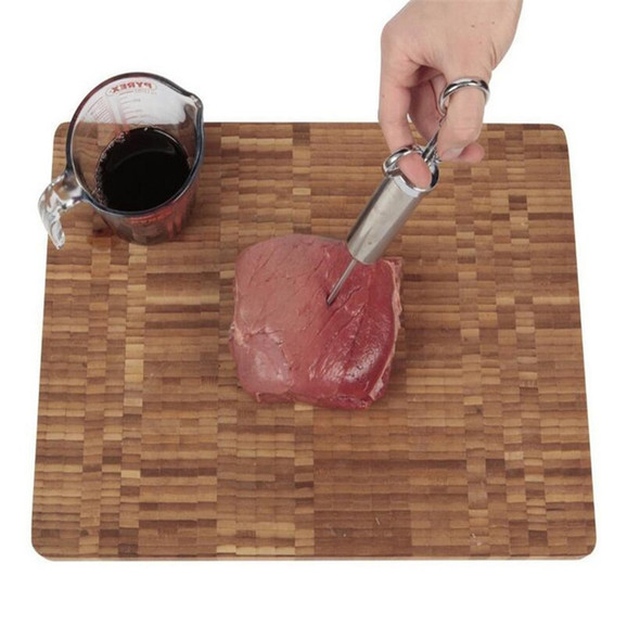 Marinade Seasoning Injector Turkey Meat Injectors Stainless Steel Cooking Syringe Injection with 3 Needles
