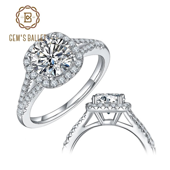 GEMS BALLET 925 Sterling Silver Square Halo Engagement Ring 1.5ct 2ct 3ct D Color Round Moissanite Diamond Womens Ring Jewelry
