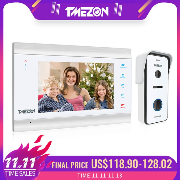 TMEZON 7 Inch HD1080PVideo Door Phone Intercom System with High Definition Wired Doorbell Camera,Support monitor Unlock