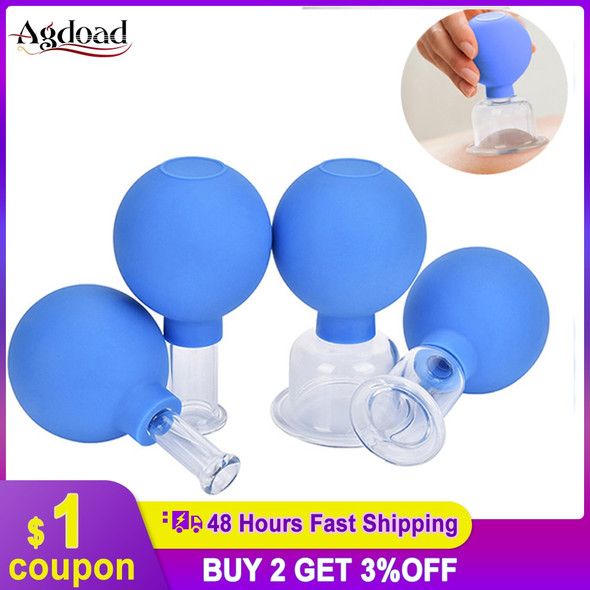 Vacuum Cupping Cups PVC Head Massage Body 2/4pcs Suction Cupping  Cans Glass jars Chinese Medical Therapy Meridian Dredge