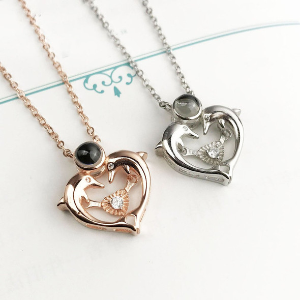 100 languages I love you 925 sterling silver dolphin heart-shaped pendant necklace female love memory projection girls gift