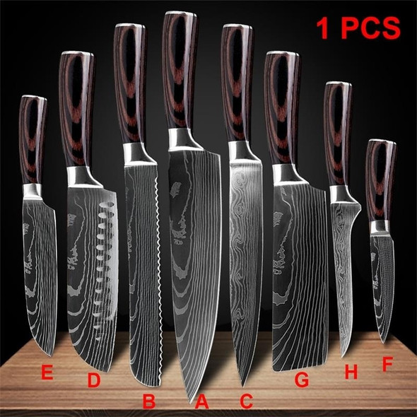 Kitchen Knives Stainless Steel Laser Damascus Pattern Chef Knife Sharp Cleaver Sushi Knife Slicing Utility Knives Tool
