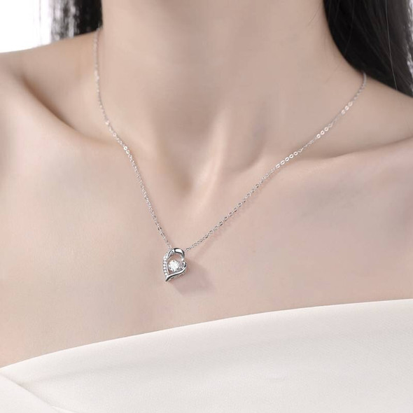 GEMS BALLET Moissanite Diamond Heart Pendant Necklace For Women 925 Sterling Silver Moissanite Jewelry 5.0mm D Color 0.5Ct