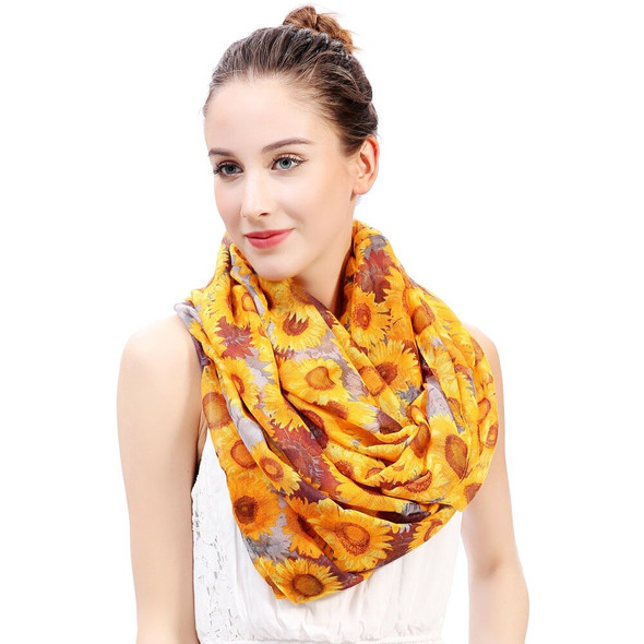 Golden Sunflowers Floral Print Infinity Loop Scarf Womens Accessories