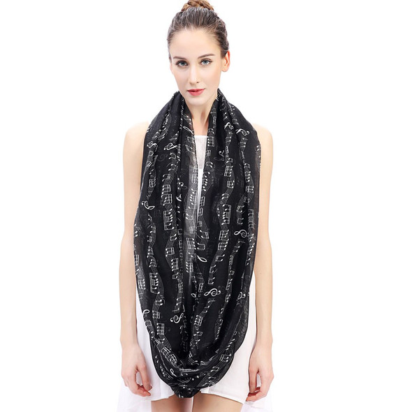 Music Notes Print Infinity Loop Scarf Womens Accessories