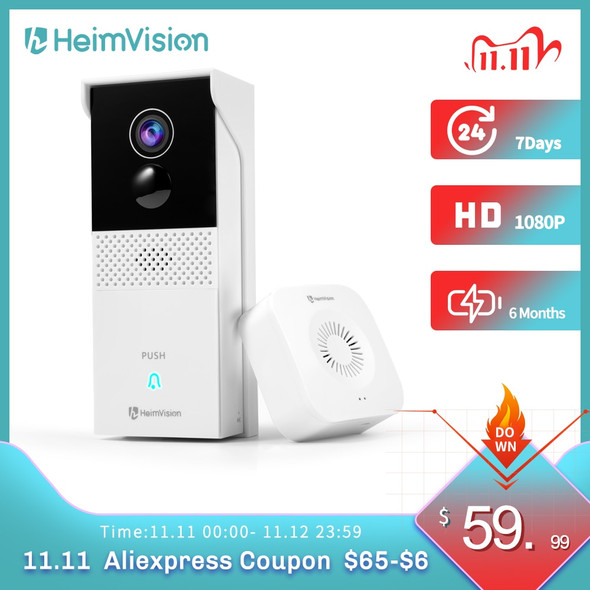 HeimVision HMB1 Video Doorbell Camera Wireless Chime 1080P Wider View 2-Way Audio Night Vision Waterproof 24/7 Security Camera