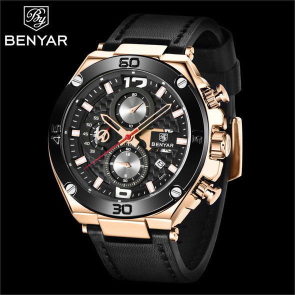 2020 New BENYAR Brand Men Quartz Watch Luxury Military Sport Chronograph Business Waterproof Leather Watches Relogio Masculino