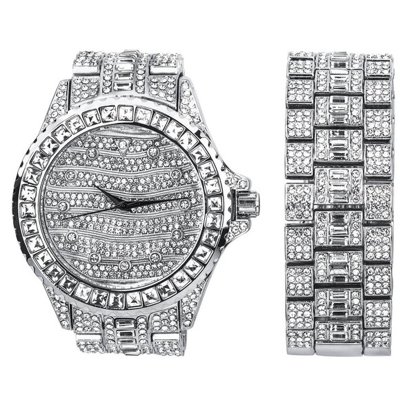 MONARCH BLING MASTER WATCH SET | 530111 Bling Master, Luxury Iced out Metal Watch and Bracelet, Base Metal,  Rhinestone