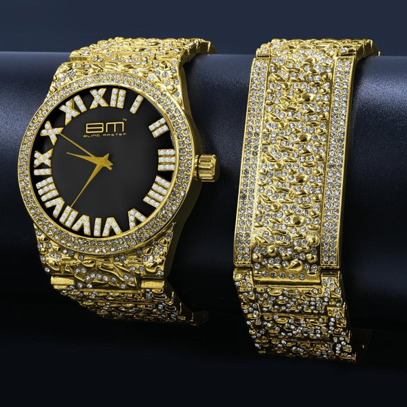 FLAMBOYANT ULTRA BLING WATCH SET | 530293 Base Metal Alloy Adjustable links Double push pin buckle Hard flex mineral crystal
