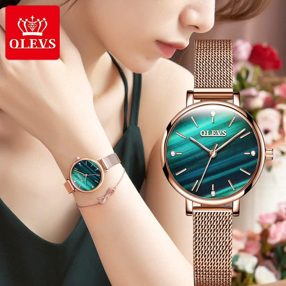 OLEVS Womens Watches Wristwatch Rose Gold Starry Sky Quartz Band Ultra Thin Fashion Casual Mesh Waterproof Gifts for Ladies6894