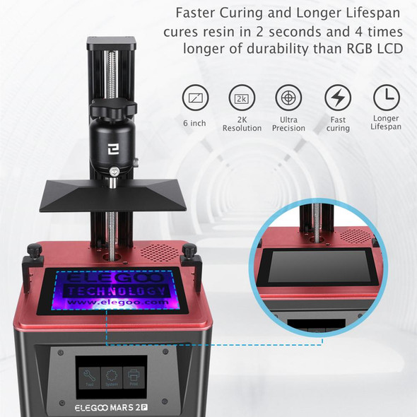 ELEGOO MARS 2 PRO Mono SLA  3D Printer UV Photocuring LCD 3D Printer with 6 inch 2K Monochrome LCD Printing Size 129x80x160mm