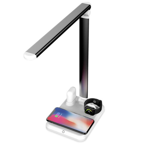 10W QI Quick Wireless Charging LED Table Desk Lamp Multi Angle Adjustable Arm Airports Charger Apple Watch Charger Touch Control