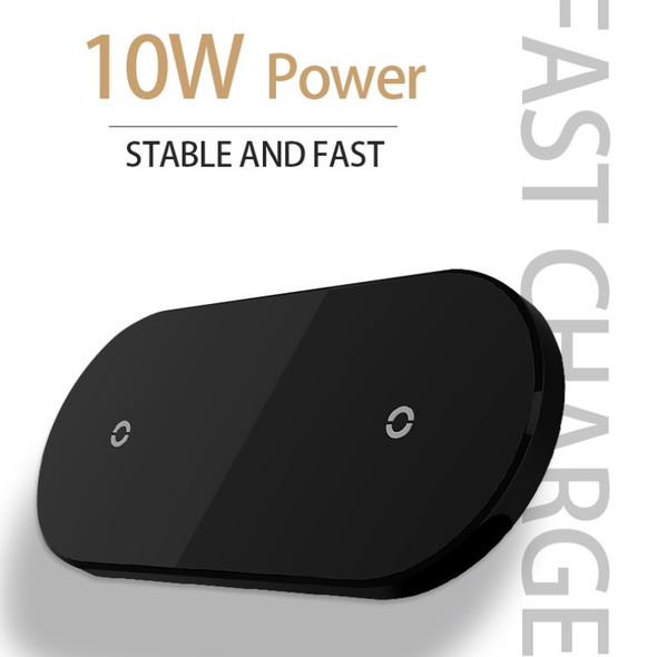 10W 2 In 1 Double Seat Qi Wireless Charger For IPhone Samsung Double Fast Charging Dock Pad Dual Fast Charging Dock Station