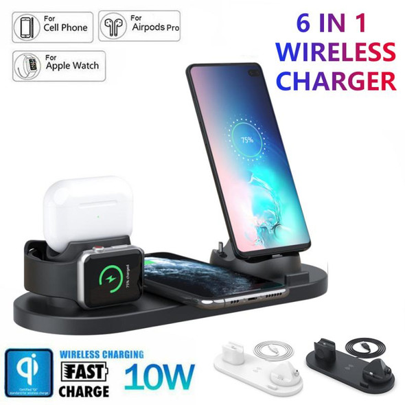 6In1 Wireless Charger Stand Dock for iPhone/Iwatch 10W Fast Wireless Charging for Airpods Multi-functional Wireless Usb Charger