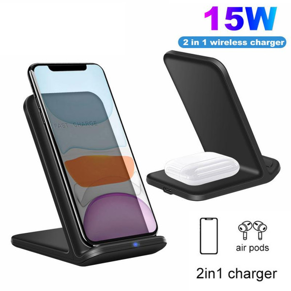 15W 2 In 1 Qi Wireless Charger Fast Charge Stand For IPhone AirPods 2 Pro Huawei Mate Pro Freebuds Samsung Galaxy Buds
