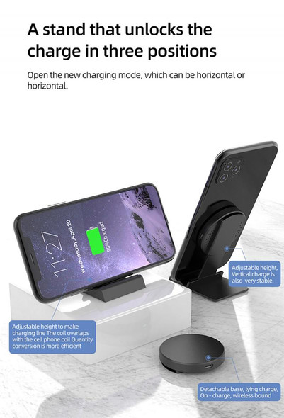 Mobile Phone Wireless Charger Bluetooth Headset Wireless Charging Folding Wireless Charging Bracket Wireless Charger Dropship