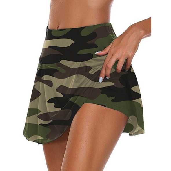 Camouflage Shorts Skirts Women Summer Elastic Waist Fake Two Piece Shorts Golf Sport Workout Skirts With Shorts Fitness Skorts