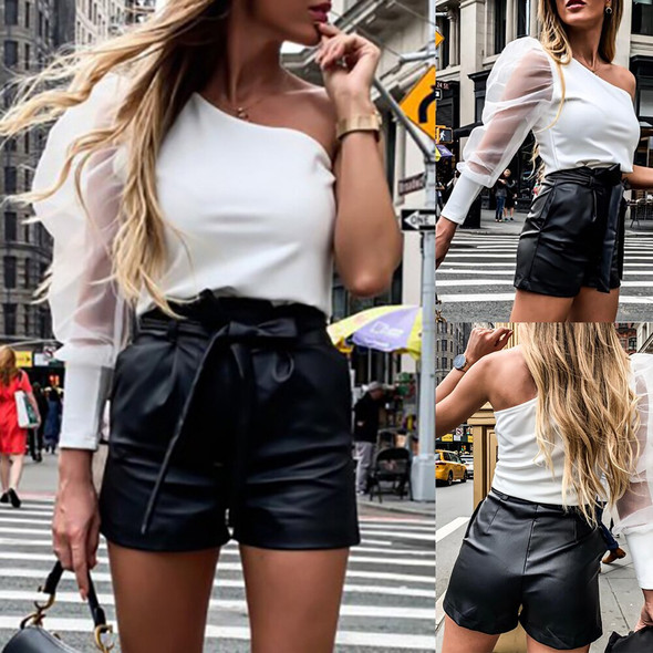 Women Solid Shorts England Style Bottoms Black Short Casual PU Leather Shorts Fashion Sexy High Waist Shorts with Belt D30