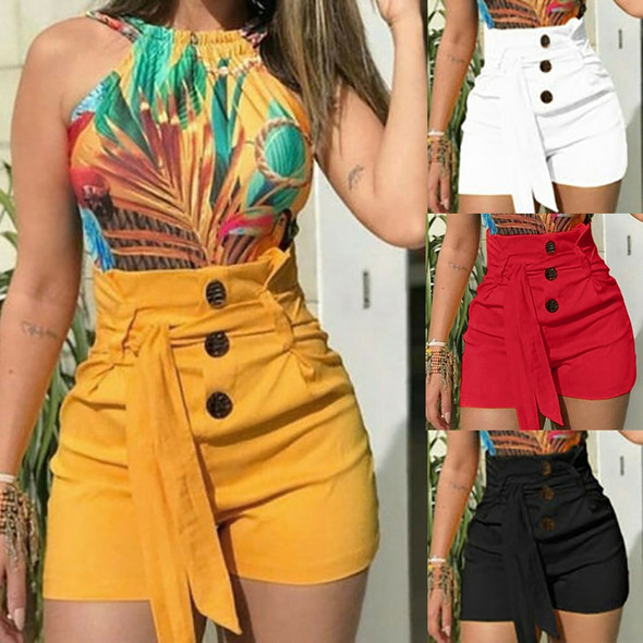 2020 New Summer Women Sexy Buttom Shorts Ladies High Waist Solid Casual Bandage Beach Hot Shorts Womens Plus Size S-5XL