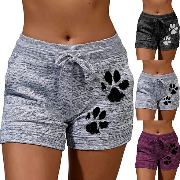 Summer Ladies Shorts Hot Shorts European And American Womens Casual Running Stretch Sports Cotton Cartoon Pattern Shorts Q30