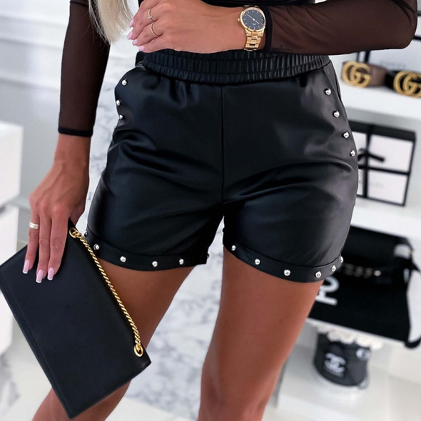 2020 New PU Leather Shorts Women High Waist Black High Quality Short Pants With Pockets Loose Casual Rivet Wide Leg Shorts D30