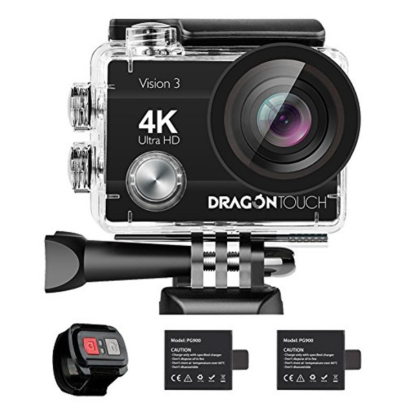 DragonTouch Vision 3 Action Camera 4K 16MP 170 Wide Angle WiFi Sports Cam Underwater Waterproof Camera Remote Control
