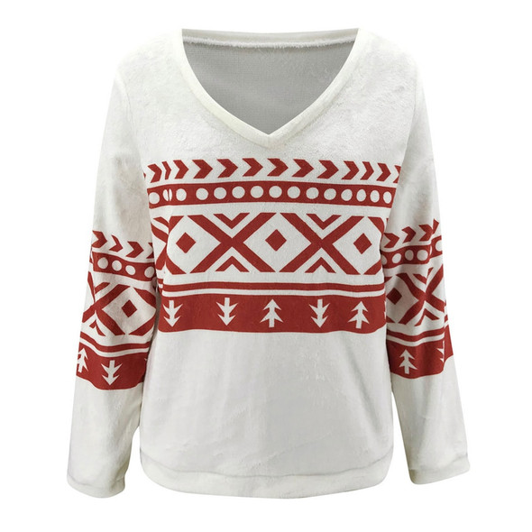 2020 New Autumn and Winter Christmas Top V-neck Pullover Printed Loose Casual Flannel Tops Sweatshirt Women Hoodies Tops D30