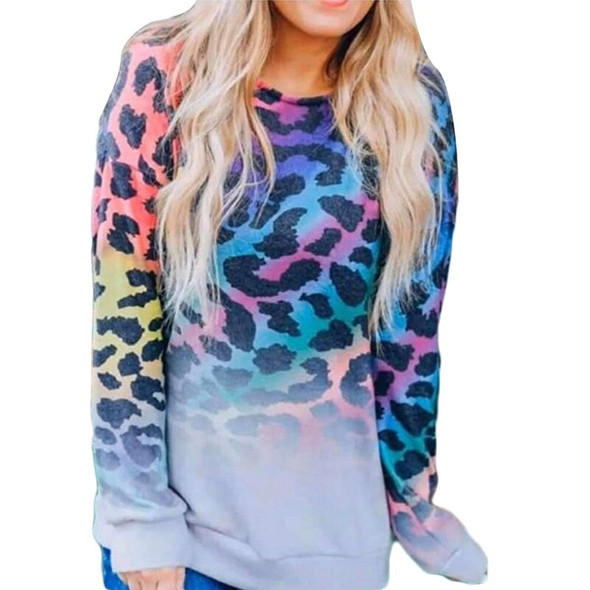 Autumn Sweatshirt Women Fashion Colorful Leopard Print Hoodie Casual Long Sleeve Pullover Ladies O Neck Top