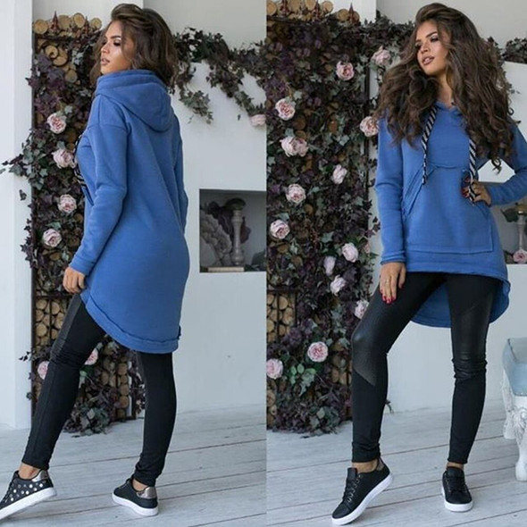 Winter Women Warm Hoodie Solid Color Hooded Thick Plush Pullover Autumn 2019 New Female Loose Casual Irregualr Hem Hoodies Q30