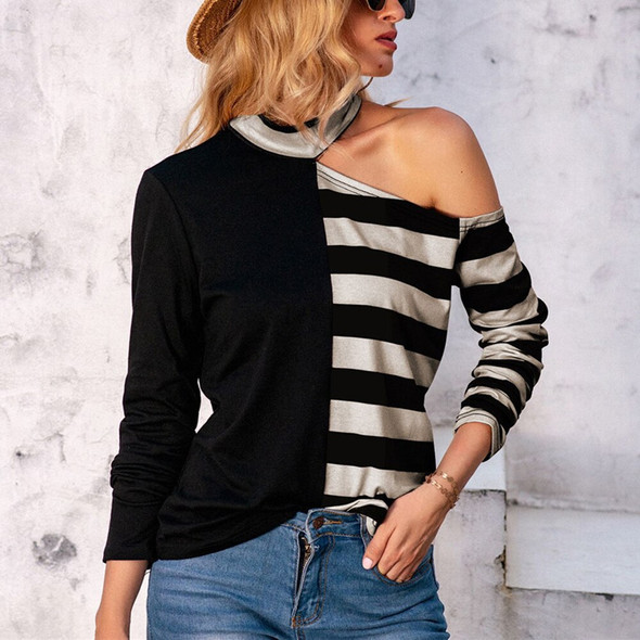 New Oversized Punk Gothic Off Shoulder Tops Striped Cool Hollow Out Hole Broken Jumper Loose y2k clothes Pullovers