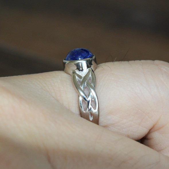 """925 Sterling Silver Movie """"The Vampire Diaries""""  Elena Gilbert Inspired New Daylight Ring Real Lapis Lazuli"""