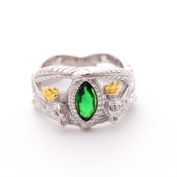 925 Sterling Silver Lord of Rings LOTR Aragorns Ring of Barahir Mens Crystal Ring US size 8-13#