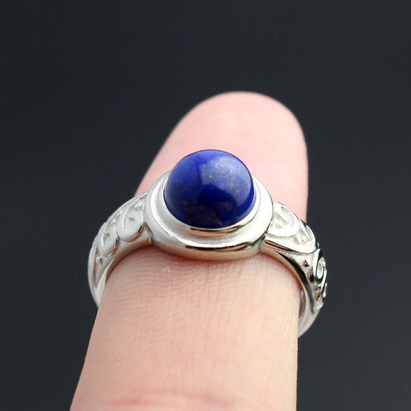 """925 Sterling Silver Movie """"The Vampire Diaries""""  Elena Gilbert Inspired Daylight Ring Real Lapis Lazuli"""
