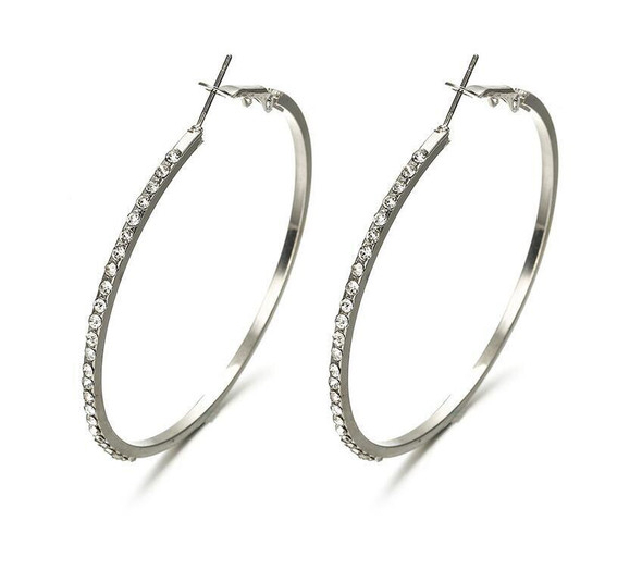 2020 Fashion Rhinestone Large Circle Earrings Big Hoop Silver Color Crystal Round Hoop Earrings For Women Jewelry Party Gifts