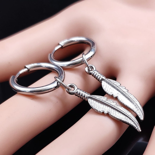 2020 Fashion Punk Feather Stainless Steel Hoop Earing for Women/Men Silver Color Earings Jewelry pendientes de aro mujer E612872
