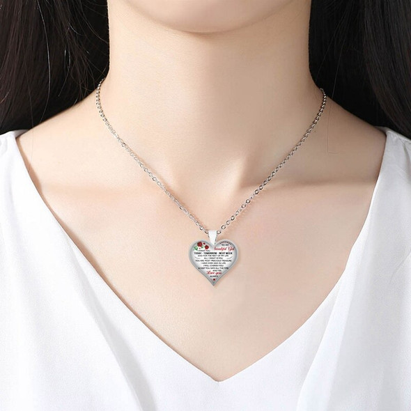 Women Necklace To My Beautiful Girl Heart Shape Pendant Necklaces , Chains Statement Jewelry Valentines Day Love Gifts