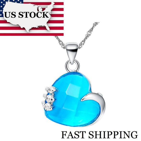 USA STOCK Uloveido Love Heart Blue Crystal Necklace Women Jewelry Suspension Purple Red Heart Pendant with Chains Female N477