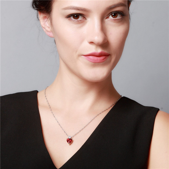 Uloveido Womens Heart Cubic Zirconia Necklaces & Pendants with Stones Necklace Women Red Jewelry 2017 Bijouterie Gifts 55641