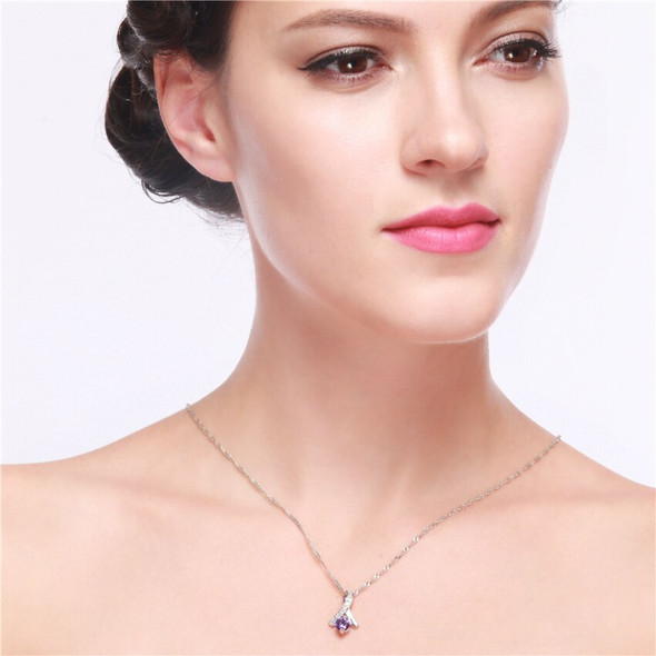 US STOCK Uloveido Gift Decoration for Women Rhinestone Necklaces Pendants Womens Collar Jewelry Pendant Ange Collier Chain N318