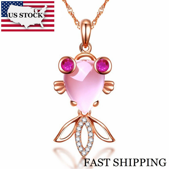 US STOCK Uloveido Suspension Pink Goldfish Necklaces Crystal Pendant with Chain Rose Gold Color Necklace Womens Jewelry DN236