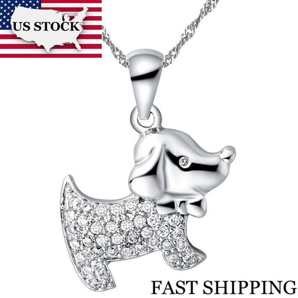 US STOCK Uloveido Necklace Female Gift Rhinestones Chain Necklaces Cute Dog Pendants for Friends Cubic Zirconia 15% N591