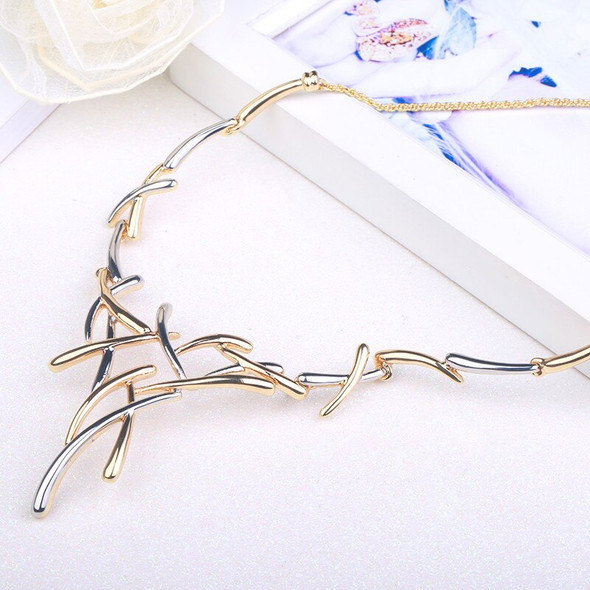 2020 Elegant Luxury Bi-Color Cross Necklace Gold Silver Color Necklace Chain jewelry Bridesmaids Exquisite Jewelry