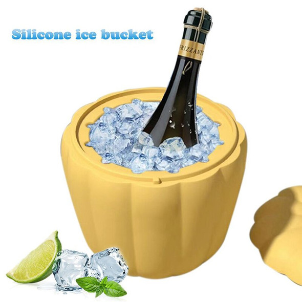 1Pcs Ice Cube Maker Tools DIY Mold Yellow Lid Pumpkin Shape For Whiskey Wine Cocktail Ice Bucket Silicone Kitchen Supplies New