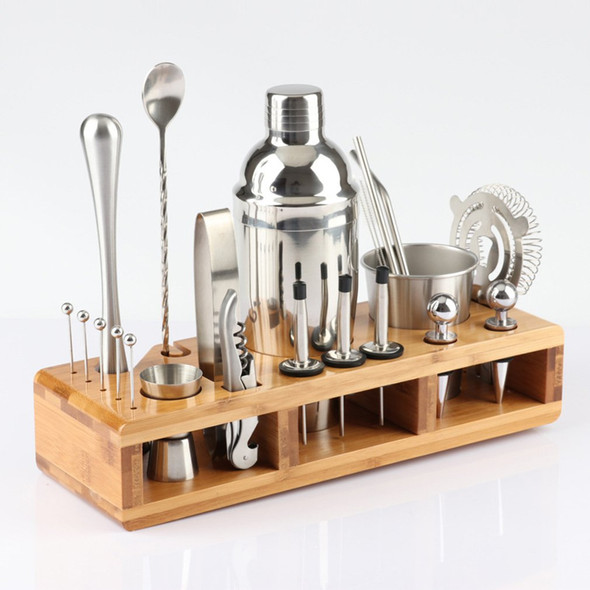 Fast Shipping 23pcs Stainless Steel Cocktail Shaker Set Barware Kit with Square Wooden Rack for Bartender Drink Party Bar Tools