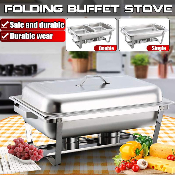 Stainless Steel Rectangular Buffet Stove 65x35cm 9 Quart Chafing Dish for Catering Buffet Food Warmer Burner Tray Wedding Party